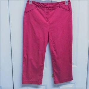 212 Collection Cropped Pants Size 6 Dark Pink